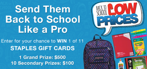 staples back to school contest
